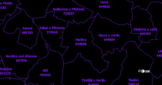 Katastrální mapa Horšice