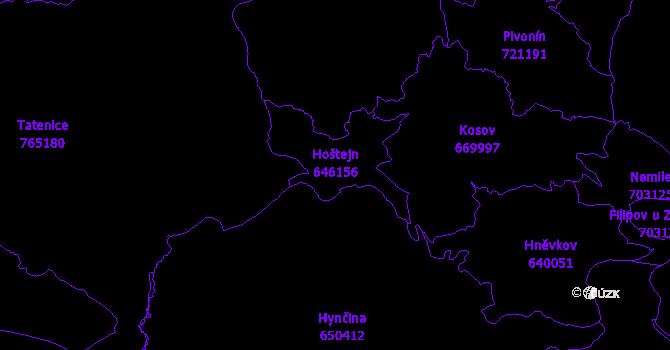Katastrální mapa Hoštejn