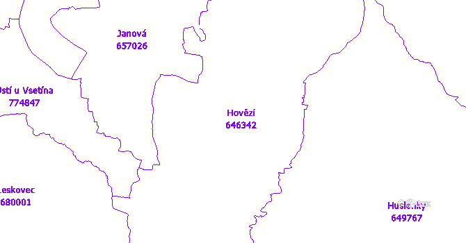 Katastrální mapa Hovězí