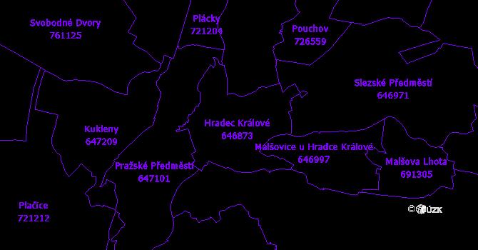 Katastrální mapa Hradec Králové
