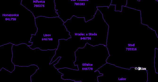 Katastrální mapa Hradec