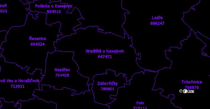 Katastrální mapa Hradiště