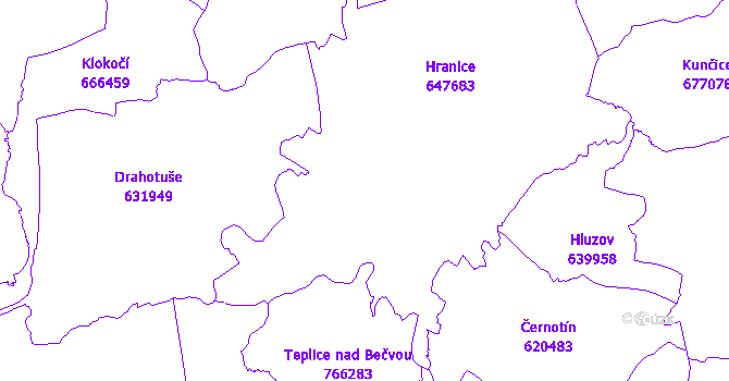 Katastrální mapa Hranice