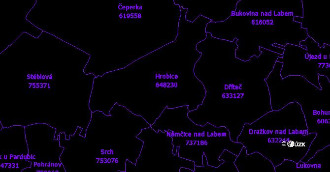 Katastrální mapa Hrobice