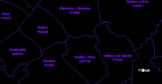 Katastrální mapa Hrušky