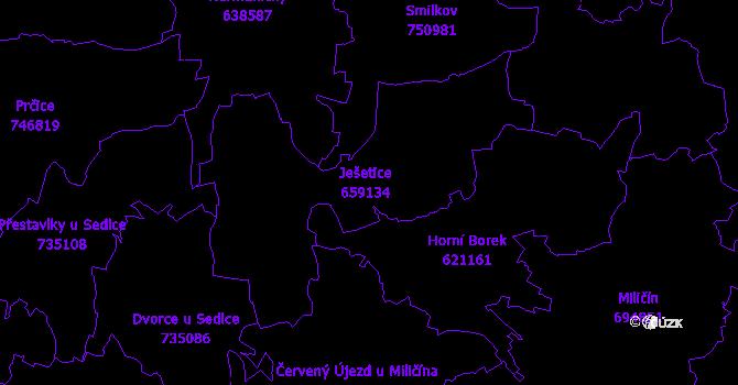 Katastrální mapa Ješetice
