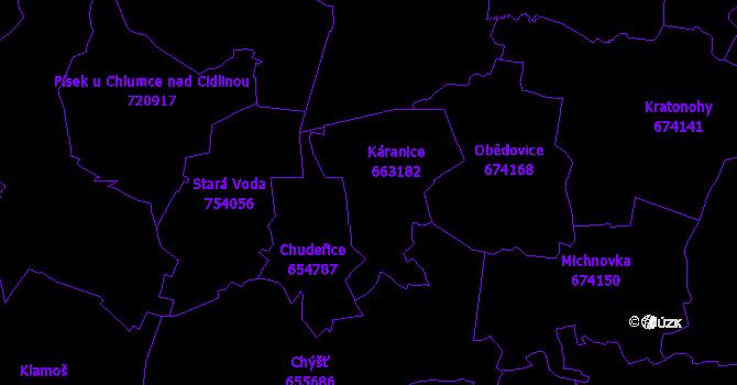 Katastrální mapa Káranice