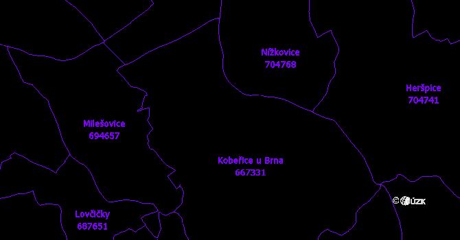 Katastrální mapa Kobeřice u Brna