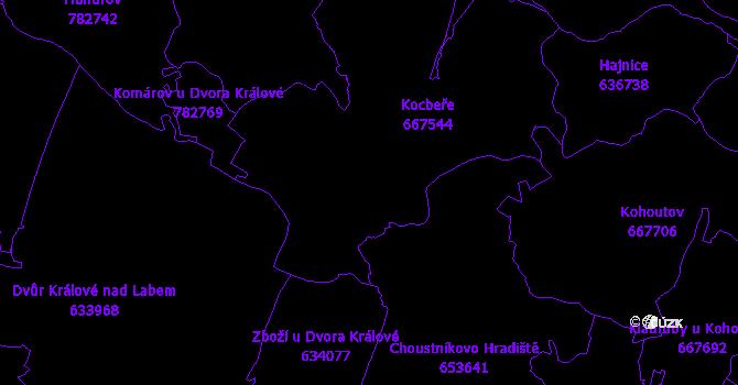 Katastrální mapa Kocbeře