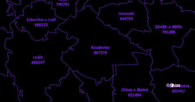 Katastrální mapa Kocelovice