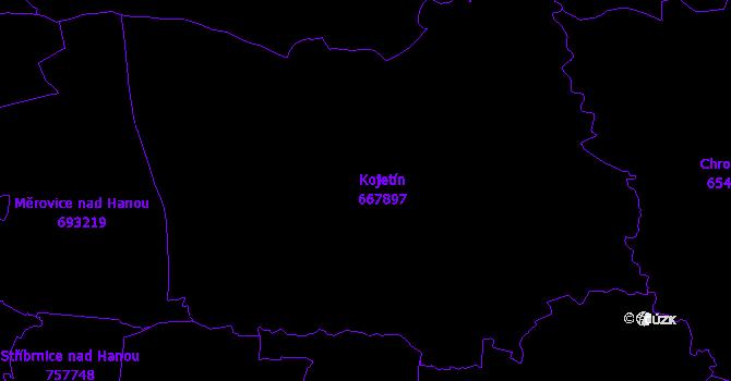 Katastrální mapa Kojetín