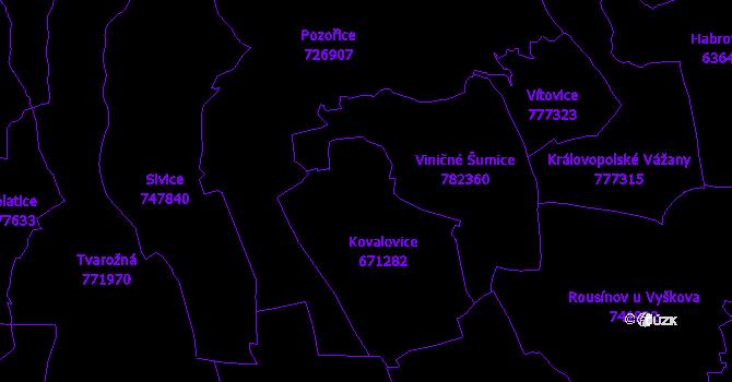 Katastrální mapa Kovalovice