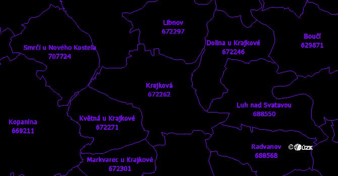 Katastrální mapa Krajková