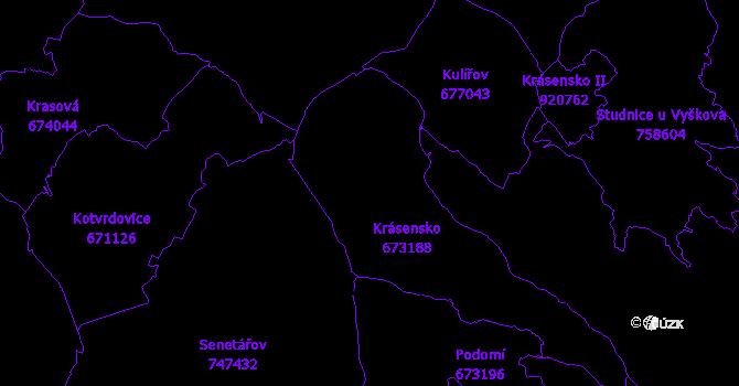 Katastrální mapa Krásensko