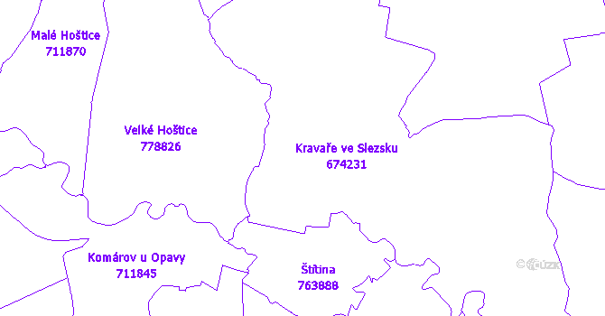 Katastrální mapa Kravaře