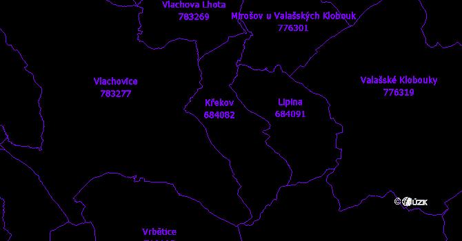 Katastrální mapa Křekov