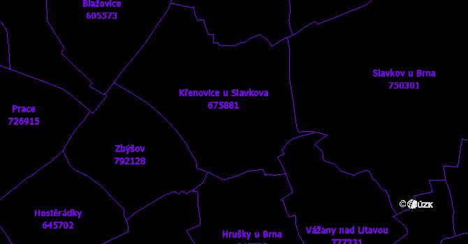 Katastrální mapa Křenovice