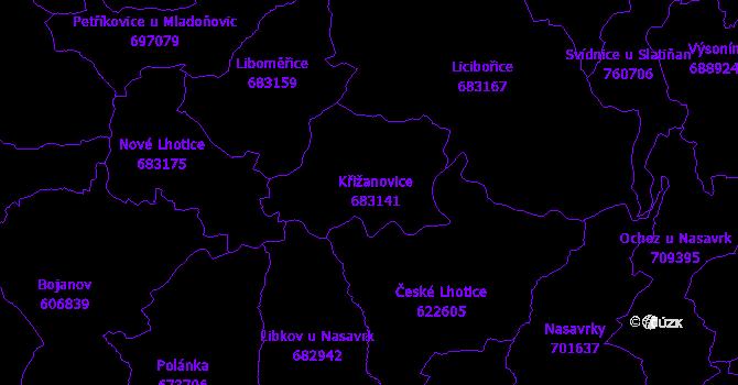 Katastrální mapa Křižanovice