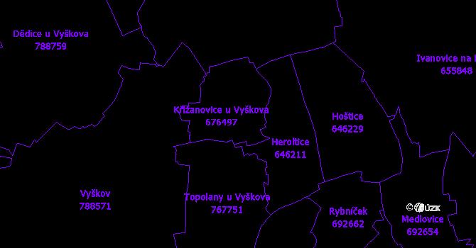 Katastrální mapa Křižanovice u Vyškova