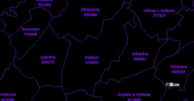 Katastrální mapa Kučerov