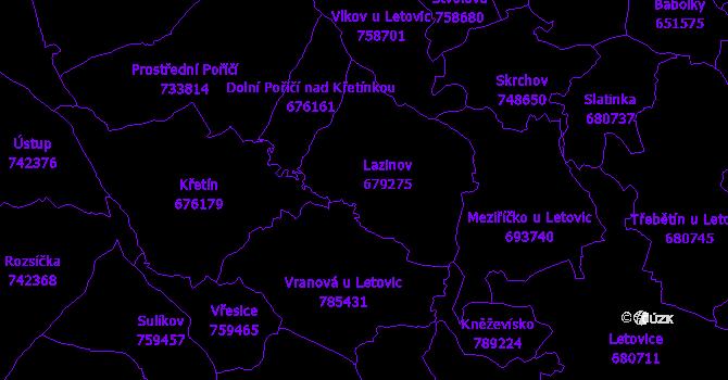 Katastrální mapa Lazinov
