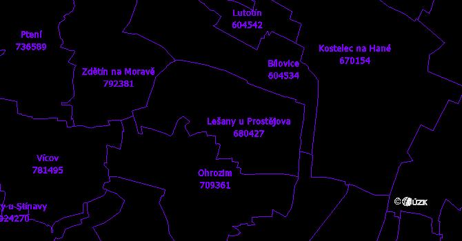 Katastrální mapa Lešany