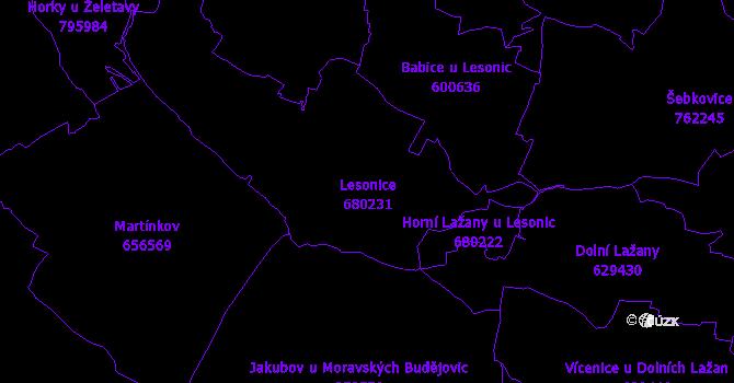 Katastrální mapa Lesonice