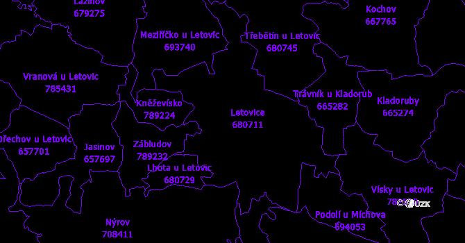 Katastrální mapa Letovice