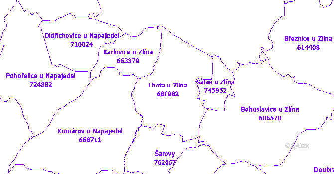 Katastrální mapa Lhota