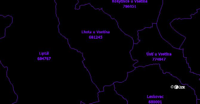 Katastrální mapa Lhota u Vsetína