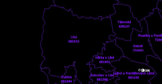 Katastrální mapa Libá