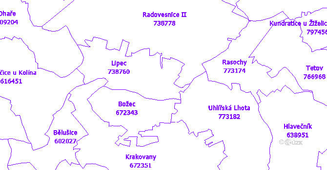 Katastrální mapa Lipec