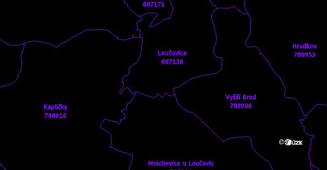 Katastrální mapa Loučovice