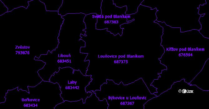 Katastrální mapa Louňovice pod Blaníkem