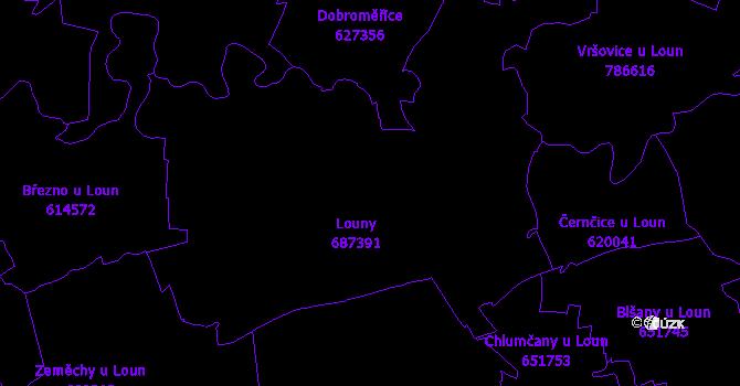 Katastrální mapa Louny