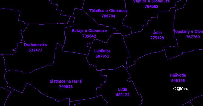 Katastrální mapa Luběnice