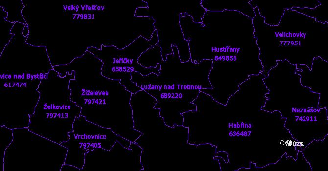 Katastrální mapa Lužany
