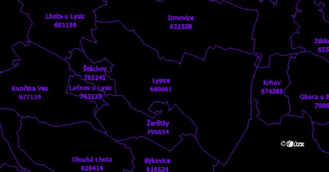 Katastrální mapa Lysice