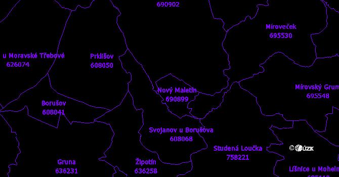 Katastrální mapa Maletín