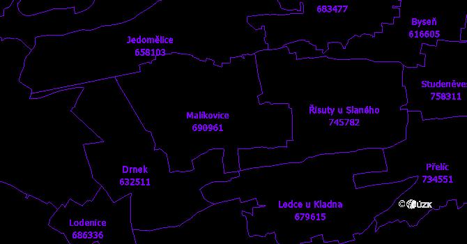 Katastrální mapa Malíkovice