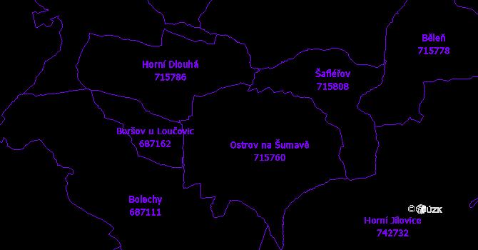 Katastrální mapa Malšín