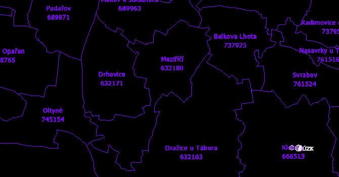 Katastrální mapa Meziříčí