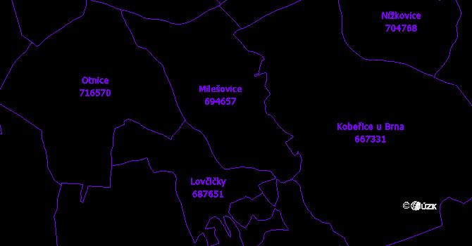 Katastrální mapa Milešovice