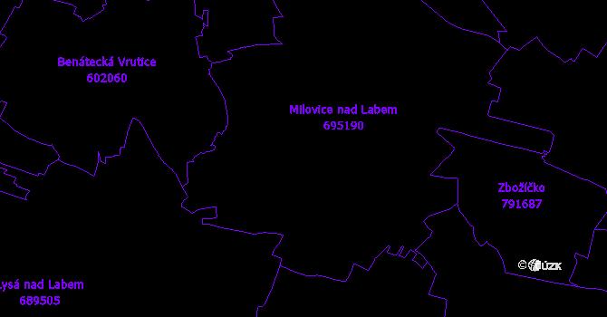 Katastrální mapa Milovice