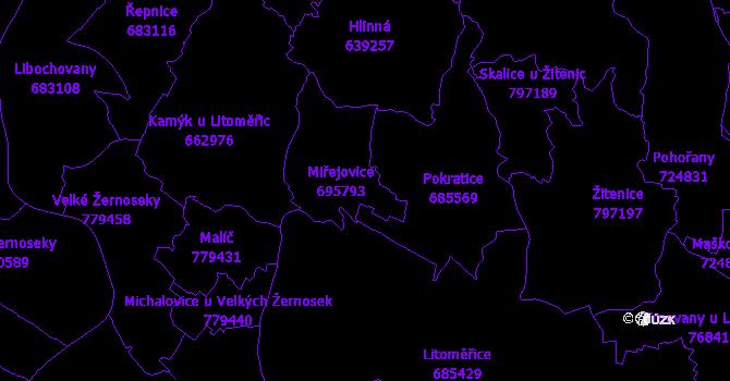 Katastrální mapa Miřejovice