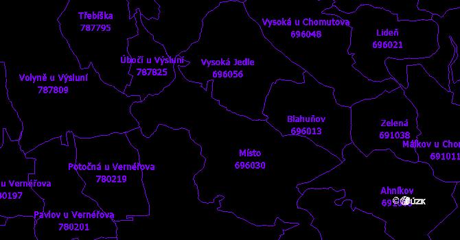 Katastrální mapa Místo