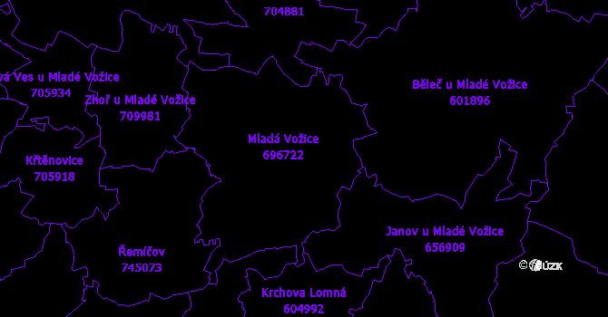 Katastrální mapa Mladá Vožice