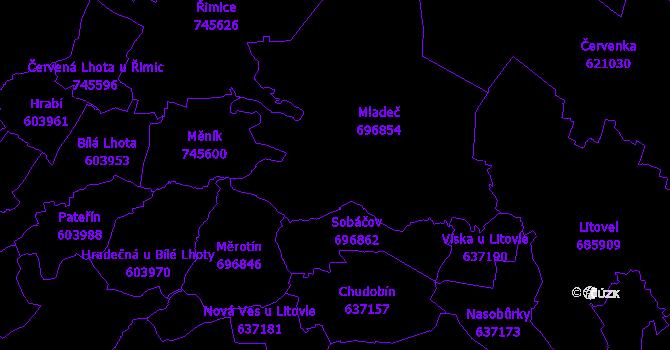 Katastrální mapa Mladeč