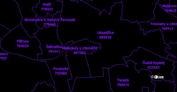 Katastrální mapa Mlékojedy