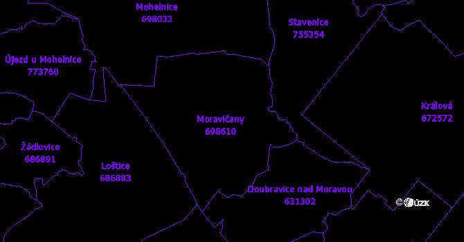 Katastrální mapa Moravičany